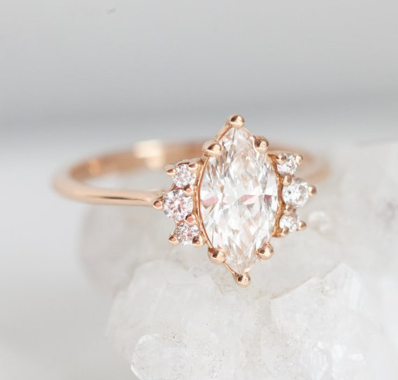One Carat Rose Gold Diamond Ring With Marquise Cut Diamond In Etsy