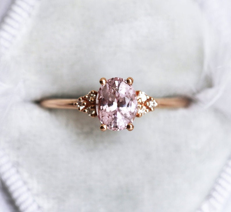4828399d7dd59 Oval Pink Peach Sapphire Ring, Rose Gold Diamond Sapphire Ring, 14k 18k  Rose Gold Diamond ring With Pink Sapphire