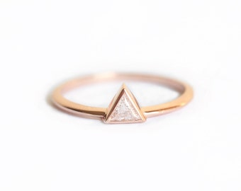 Triangle Diamond Engagement Ring, Trillion Diamond Ring, Trillion Diamond, Triangle Solitaire Ring, Diamond Solitaire Ring, .2 Carat Diamond