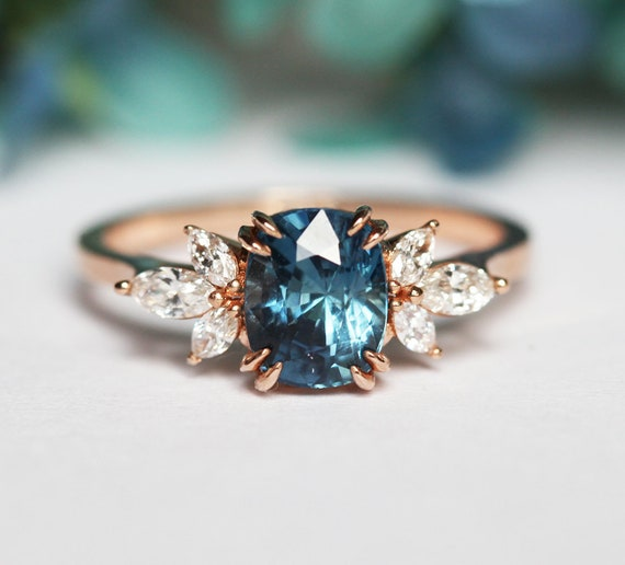 Blue Sapphire Engagement Ring Rose Gold Blue Cushion Sapphire Etsy