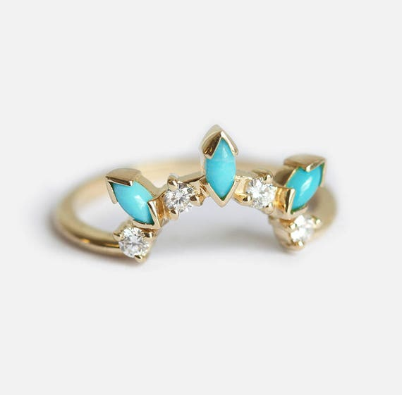 Bohemian Wedding ring with Turquoise and Diamonds Turquoise   Etsy