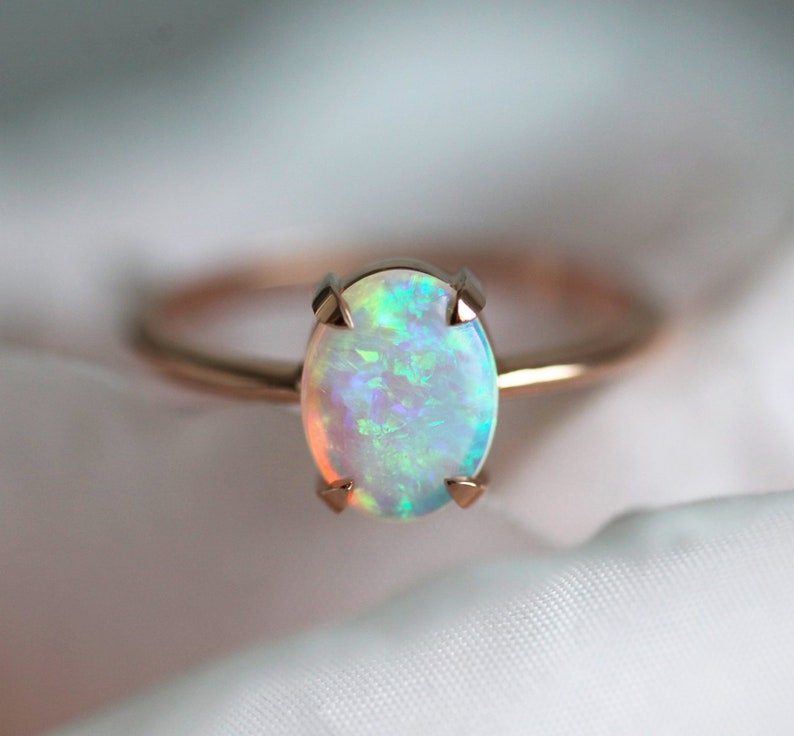 Solitaire Opal Engagement Ring Australian Opal Ring in Rose image 0