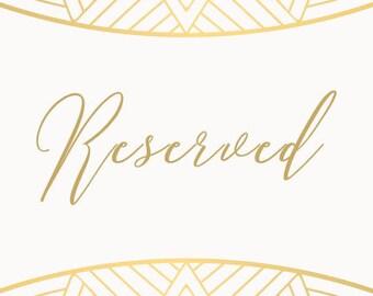 Reserved for Jillian