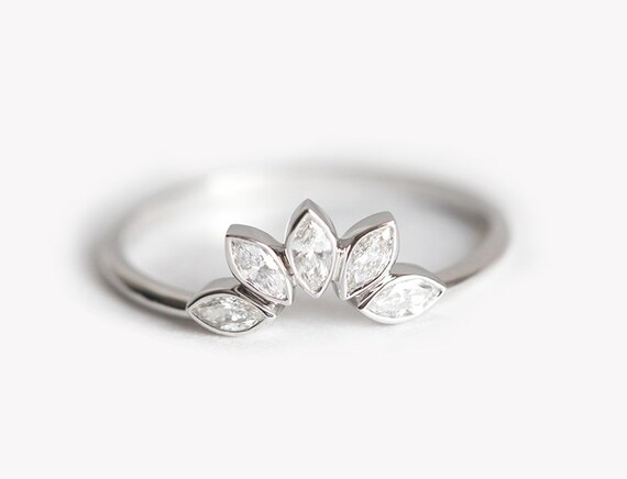 Diamond Wedding Ring With Five Marquise Cut Diamonds Leaf Etsy