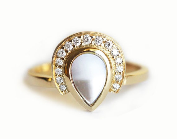 Pearl Diamond Ring Engagement Ring Diamond Halo Ring 14k