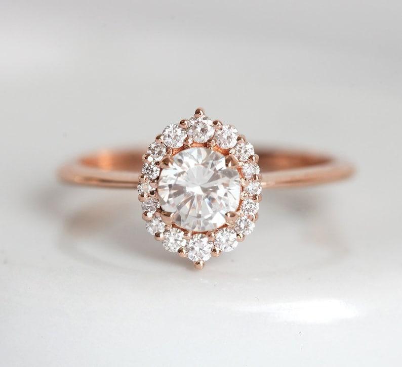4e82e9fe866 Rose Gold Diamond Engagement Ring Half Carat Diamond Ring