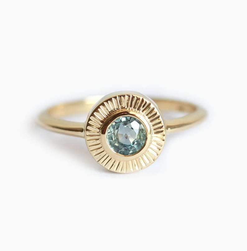 Montana Sapphire Ring, Yellow Gold Sun Ring With Blue Green Sapphire,  Solitaire Ring