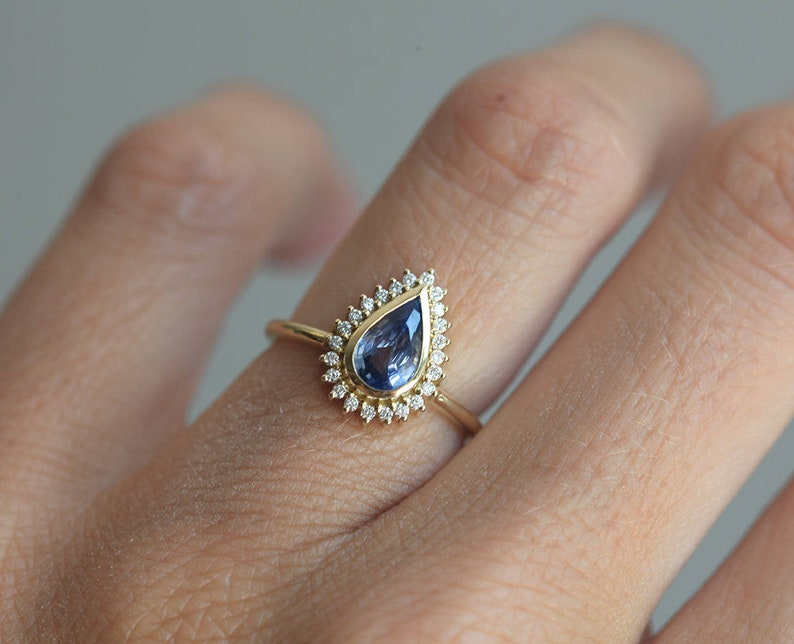 c544350bfc504 Halo Diamond Pear Engagement Ring, Blue Sapphire Engagement Ring Halo  Diamond Setting, One Carat Sapphire Ring