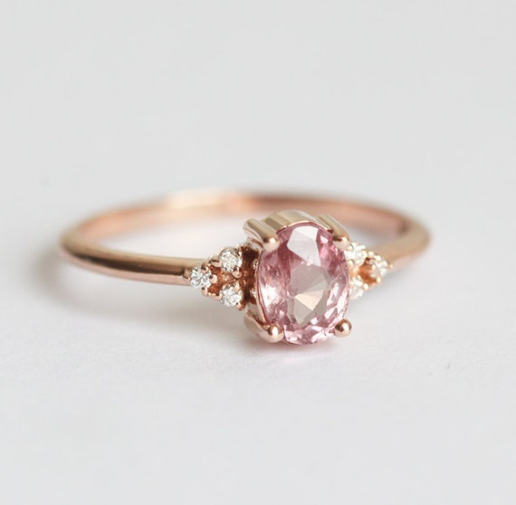 Pfirsich Saphir Ring Rose Gold Diamant Etsy