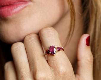 Cluster Ring, Cluster Engagement Ring, Pink Sapphire Ring, Ruby Ring, Red Engagement Ring, Unique Engagement Ring, 18k Yellow Gold Ring