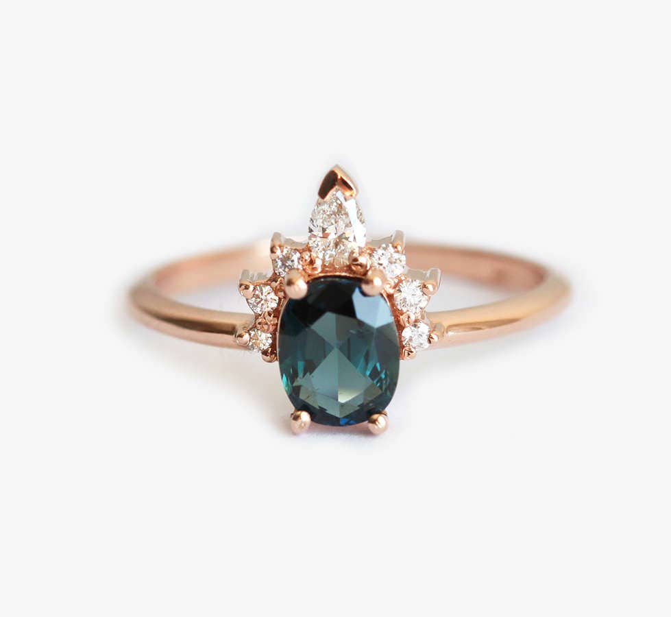 Oval Teal Sapphire Ring Rose Gold with Half Halo Diamond ...