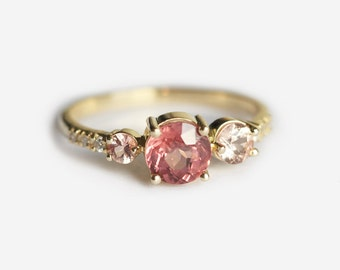 Malaya Garnet and Peach Sapphire Diamond Engagement Ring, Unique Cluster Ring, Ombre Ring by Minimalvs