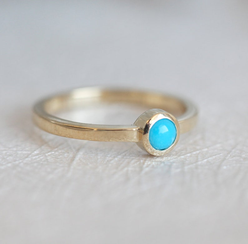 Tiny Turquoise Solitaire Ring Yellow Gold Simple Yellow Gold Turquoise Ring for Her
