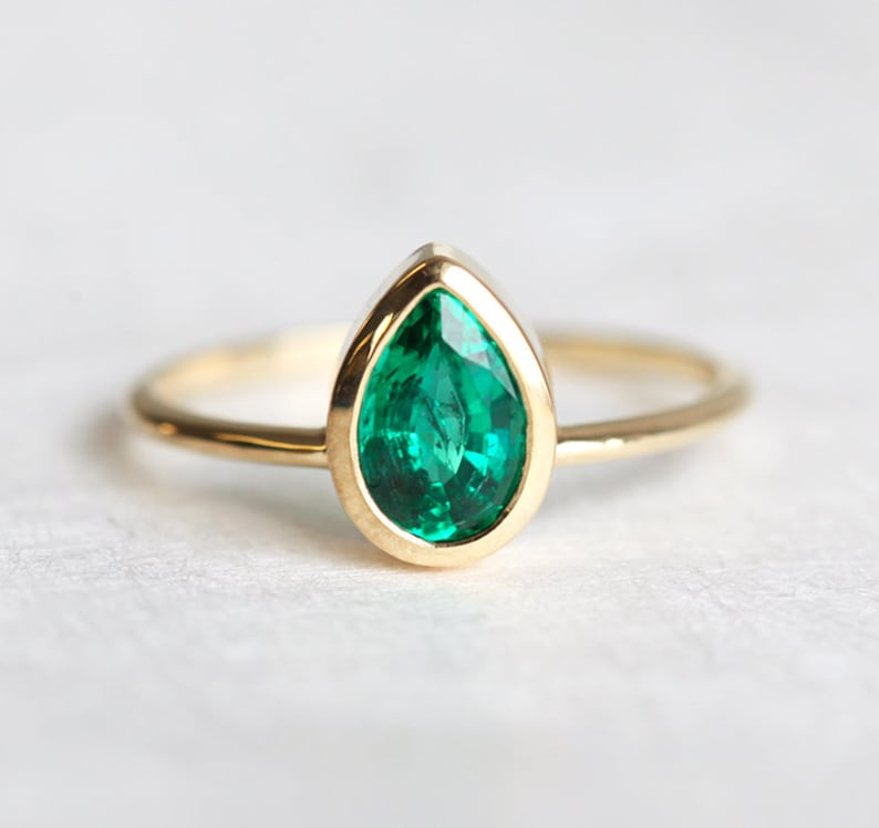 Pear Emerald Solitaire Bezel Ring in 14k Solid Gold image 0