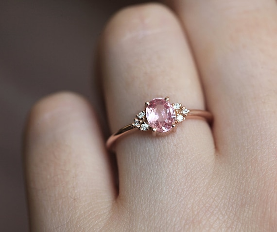 Pfirsich Saphir Ring Rose Gold Diamant Etsy