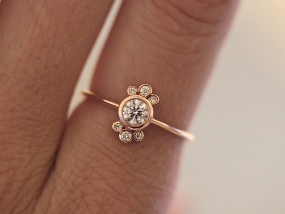 Rose Gold Diamond Ring Round Diamond Ring Bezel Set Floral Etsy