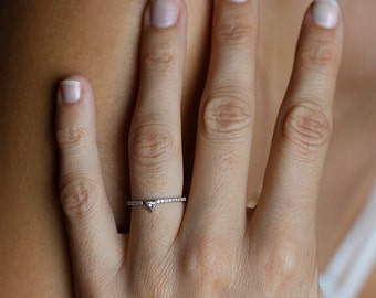 Trillion Diamond Engagement Ring, Trillion Diamond Ring, Modern Diamond Engagement Ring, Triangle Diamond Ring, .1 Carat Diamond Ring, Ring