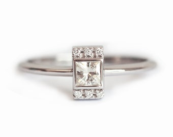 Diamond Ring, Engagement Ring, Wedding Ring, Princess Cut Ring, 18k Gold Ring, 14k Gold Ring, Square Diamond Ring, Pave Ring, Dainty Ring