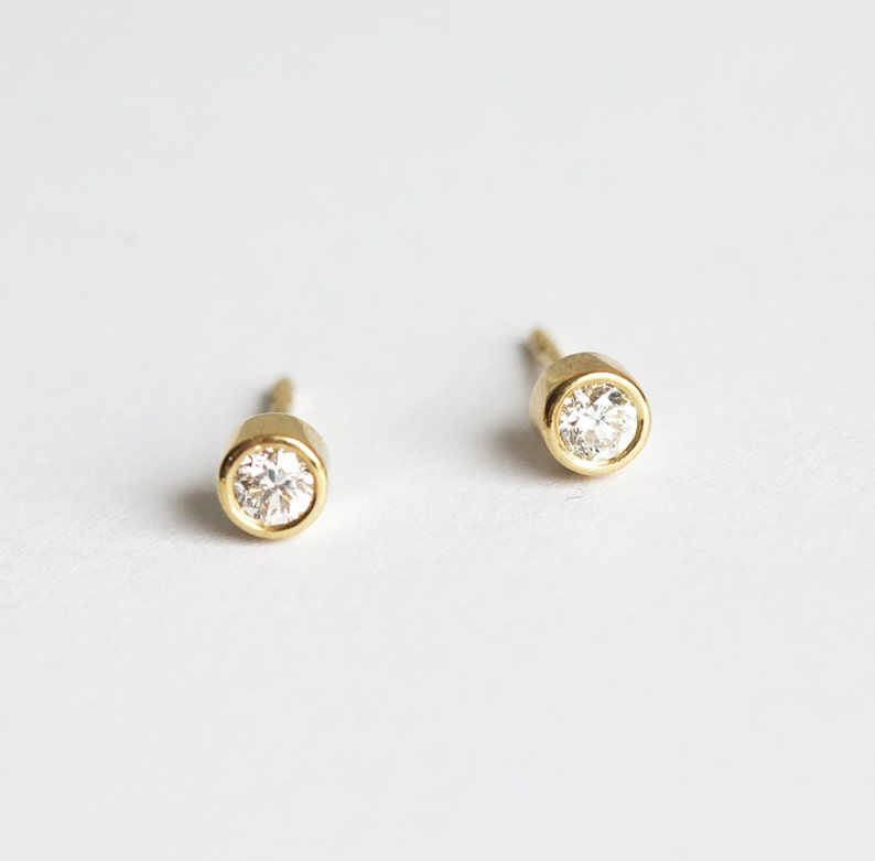 4eac1feacbc20 Simple Diamond Earrings, Gold Diamond Stud Earrings, 14k Solid Gold  Earrings, Bezel Diamond Studs, 18k Yellow Gold Earring