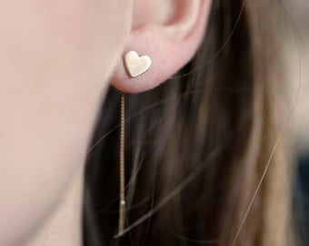 Gold Heart Earrings, Gold Heart Studs, Gold Thread Earrings, Everyday Earrings, Tiny Heart Earrings, 14k gold