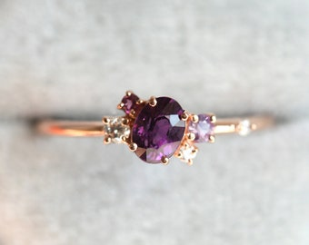 Purple Sapphire Engagement Ring, Cluster Engagement Ring, Unique Rose Gold Engagement Ring