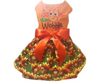 Thanksgiving Dog Dress, Dog Clothing, Dog Wedding Dress, Pet Clothing, Dog Attire, Pet Dress - Thanksgiving Dog Dress