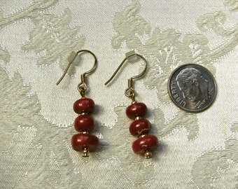Red Coral Earrings; Oxblood Coral Earrings; Handmade Red Earrings; Small Red Earrings; Free Shipping