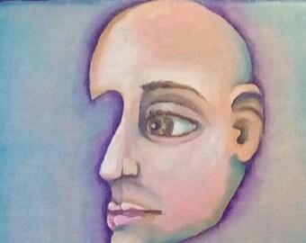 Original surreal portrait, oil painting