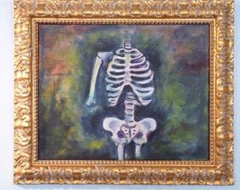 Original Oil painting, Skeleton, Bones, Nice, Framed