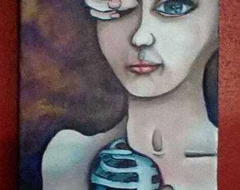 Original oil painting, surreal figure, nude female, anatomical art