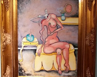 Original oil painting, framed surreal nude, feminist, avant garde