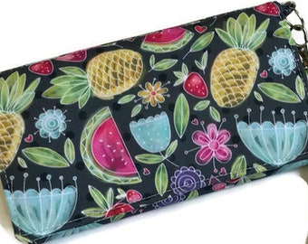 Women wallet, large wallet, large women wallet, summer wallet, purse, phone purse, trifold, pineapple, watermelon, flowers, polka dot,