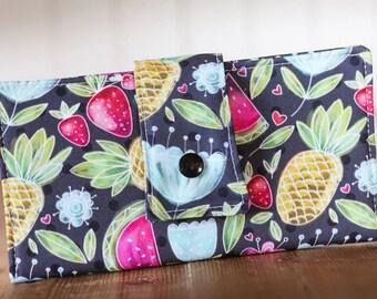 Women wallet, wallet, vegan wallet, summer wallet, fabric wallet, handmade wallet, fruits, flower, watermelon, pineapple, polka dot, grey