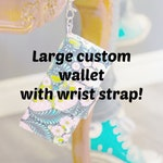 Custom wallet, 18 cards sections with wrist strap, custom wallet, large wallet custom, wallet, fabric wallet, large wallet, women wallet,