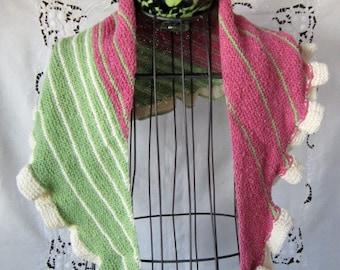 Hand Knitted Ruffled Wool Shawl, Sweet Little Shawl Hand Knit