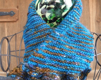 Soft, Squishy, Warm and Ruffled, Wool Neck Warmer With Ruffle, Hand Knit Wool Blend Cowl Scarf in Blues and Browns