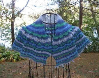 Hand Knit Shawl, Knitted Shawlette, Baby Alpaca Shawl