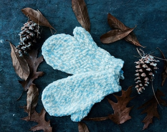 Hand Knitted Winter Mittens for Children, white and Ice Blue Warm Mittens