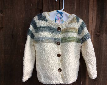Hand Knitted Girls Cardigan, Warm and Wooly Button Down Sweater for Girls