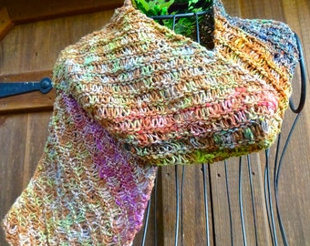 Hand Knitted Scarf, Dropped Stitch Lace Scarf for Women, Lace Scarf for Fall, Color Changing Wool Scarf