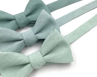 """Green Bow Ties, Mens Pale Blue Green """"Dusty Sage"""" Bow Tie, Mist Blue Tie, Pale Dusty Mint, Green Bow Tie - Traditional Self-Tie or Pre-Tied"""