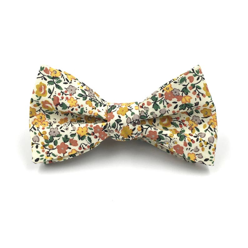 3e1c4fbdb1ce Floral Bow Tie Mens Mustard Yellow Floral Bow Tie Yellow   Etsy