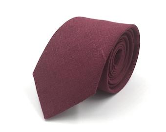 """Burgundy Necktie, Mens Wine """"Bordeaux"""" Burgundy Linen Necktie, Groomsmen Ties, Bordeaux Wedding - Traditional Self-Tie or Pre-Tied"""