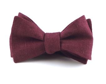 "Burgundy Bow Tie, Mens Wine ""Bordeaux"" Burgundy Linen Bowtie, Bordeaux Wedding - Traditional Self-Tie or Pre-Tied"