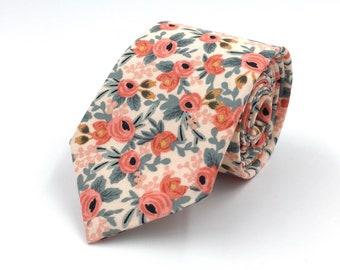 Peach Necktie, Pale Peach Necktie, Mens Peach and Coral Floral Neck Tie, Peach Wedding Ties, Floral Necktie