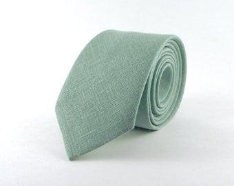 Dusty Sage Tie, Men's Pale Blue Green Dusty Sage Linen Necktie - Traditional Necktie or Skinny Tie Available