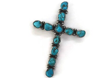 Silver Turquoise Navajo Cross Pendant American Indian Cross Signed Sterling Cross Pendant Turquoise Jewelry