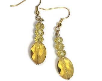 Yellow Earrings Yellow Glass Earrings Yellow Crystal Dangle Earrings