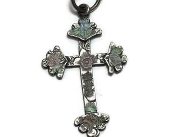 Rosy cross etsy rose cross silver rosy cross pendant cross of lazarus possible rosicrucians religious pendant aloadofball Image collections