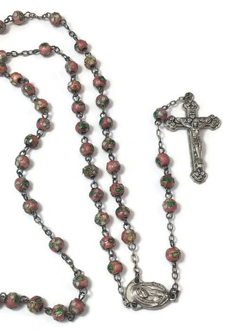 d16887728 Cloisonne Rosary Catholic Rosary Pink Glass Beads Rosary | Etsy